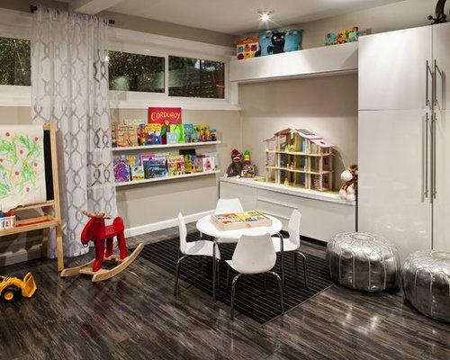 Trendy Dark Wood Floor And Brown Floor Kidsu0027 Room Photo In Los Angeles