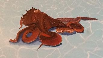 Octopus gliding along in Stingray Mural