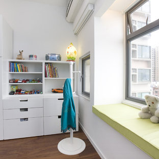 Design ideas for a contemporary kids' room in Hong Kong with white walls.