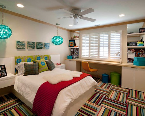 contemporary teen room idea for girls in orange county with beige walls and carpet - Desk In Bedroom Ideas