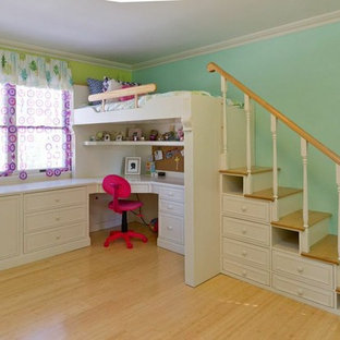 Kids' room - mid-sized shabby-chic style girl light wood floor kids' room idea in New York with multicolored walls