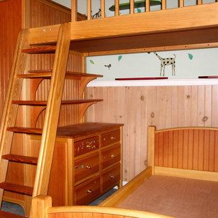 Idee per una cameretta per bambini da 4 a 10 anni chic di medie dimensioni con moquette, pareti verdi e pavimento grigio
