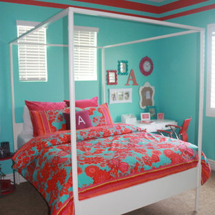 Photo of a mid-sized shabby-chic style kids' room for girls in Phoenix with carpet and multi-coloured walls.