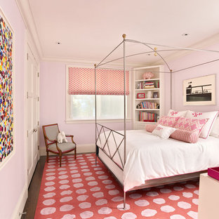 Example of a trendy kids' room design in San Francisco with pink walls