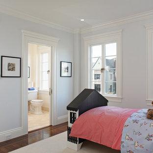 Kids' room - contemporary gender-neutral dark wood floor kids' room idea in San Francisco with blue walls