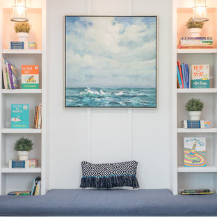 Inspiration for a beach style gender-neutral kids' room remodel in Houston with white walls