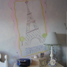 Traditional Kids Paris themed bedroom