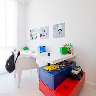 Modelo de cuarto de juegos minimalista con suelo blanco