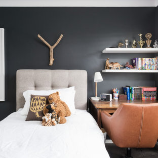 Design ideas for a contemporary kids' bedroom for boys in Sydney with black walls, carpet and grey floor.
