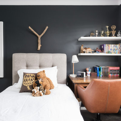 Inspiration for a contemporary boy carpeted and gray floor kids' bedroom remodel in Sydney with black walls