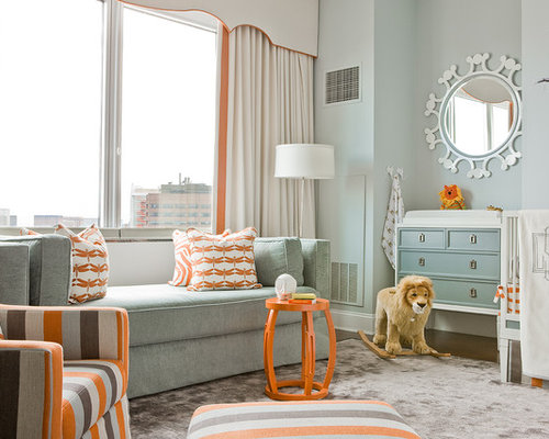 Transitional Kids Room Idea In Boston With Blue Walls