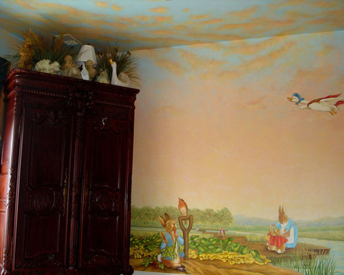 Peter rabbit mural inspired by beatrix potter by visionary for Beatrix potter wall mural
