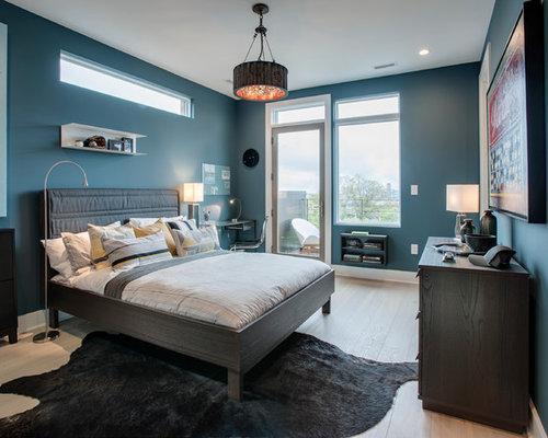 Inspiration pour une chambre denfant minimaliste avec un mur vert et un sol en