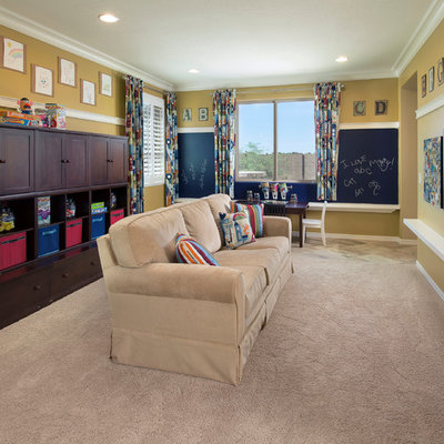 Example of a classic gender-neutral carpeted playroom design in Phoenix with yellow walls