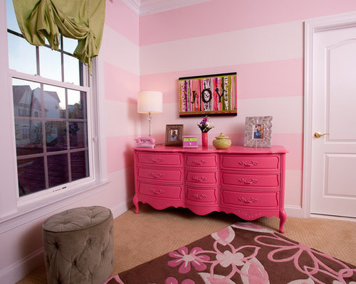 Example Of A Trendy Girl Carpeted Kidsu0027 Room Design In DC Metro With Pink  Walls