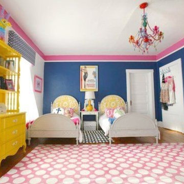 Pink and Navy Teen Girls Room