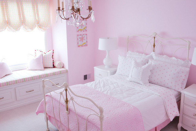 Traditional Kids Pink Girl's Room