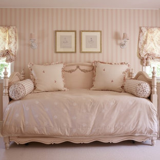 Elegant girl carpeted kids' room photo in New York with pink walls