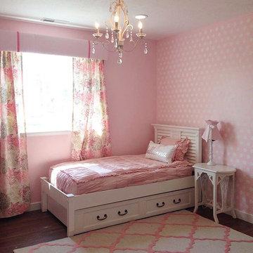 Pink Polka Dot Stenciled Bedroom