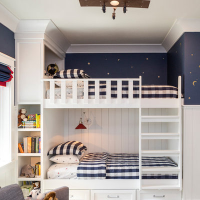Kids' room - large transitional gender-neutral carpeted and beige floor kids' room idea in Denver with white walls