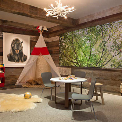 Example of a mountain style gender-neutral playroom design in Birmingham