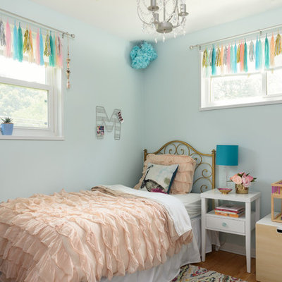 Example of a small classic girl light wood floor kids' room design in DC Metro with blue walls