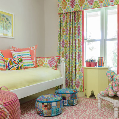 Inspiration for a mid-sized eclectic girl kids' bedroom remodel in San Francisco with beige walls