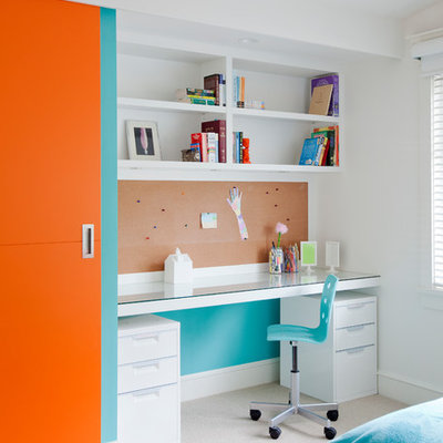 Example of a mid-sized trendy gender-neutral carpeted and beige floor kids' room design in Vancouver with white walls