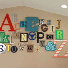 Contemporary Kids Playroom Alphabet Wall