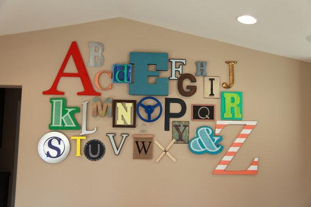 Contemporary Kids Playroom Alphabet Wall