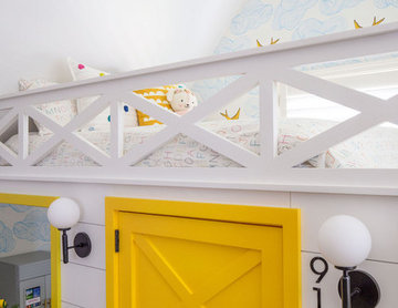 Playroom Built-in Playhouse and Bunk