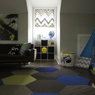 Design ideas for an expansive modern kids' room for boys in Charleston with grey walls and carpet.