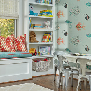 Inspiration for a mid-sized contemporary gender-neutral dark wood floor kids' room remodel in DC Metro with blue walls