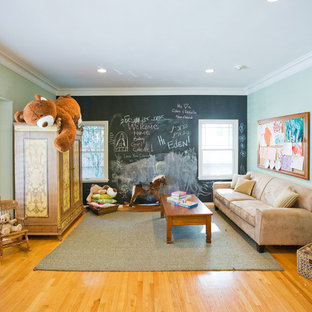Playroom - contemporary playroom idea in Los Angeles with multicolored walls