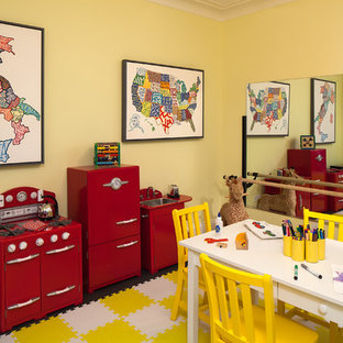 Example of a mid-sized transitional girl dark wood floor kids' room design in New York with yellow walls