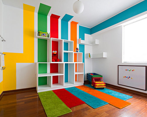 Colorful playroom houzz - Funny playroom with colorfull wall paint idea ...