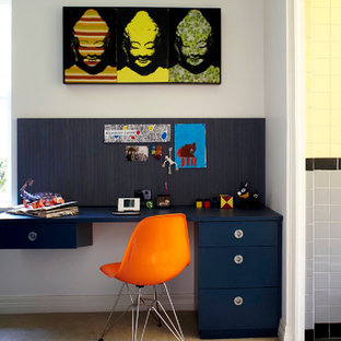 Inspiration for a contemporary boy carpeted kids' room remodel in Sydney with white walls