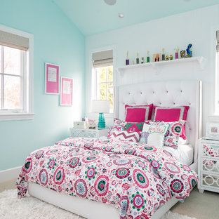 Example of a large transitional girl carpeted kids' room design in Orange County with multicolored walls