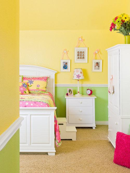 Chambre d 39 enfant chambre jaune et blanche photos et for Chambre 0 decibel