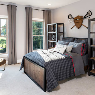Inspiration for a transitional boy kids' room remodel in DC Metro with gray walls