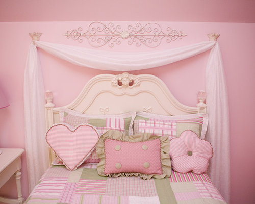 Example of a large classic girl carpeted kids  room design in Other with  pink wallsPink Girls Bedroom   Houzz. Girls Bedroom. Home Design Ideas