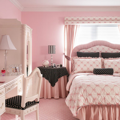 Inspiration for a huge timeless girl carpeted and pink floor kids' room remodel in Newark with pink walls