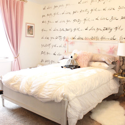 Inspiration for a mid-sized timeless girl carpeted and beige floor kids' room remodel in Omaha with white walls