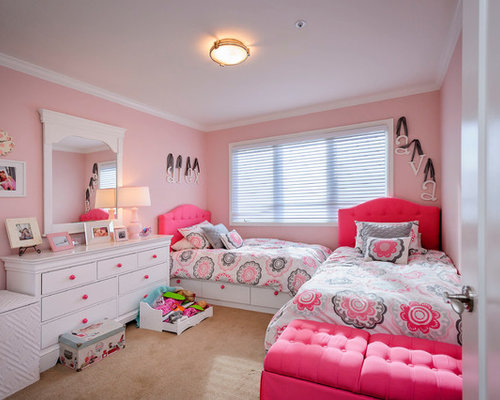 inspiration for a timeless kids room remodel in san francisco with pink walls