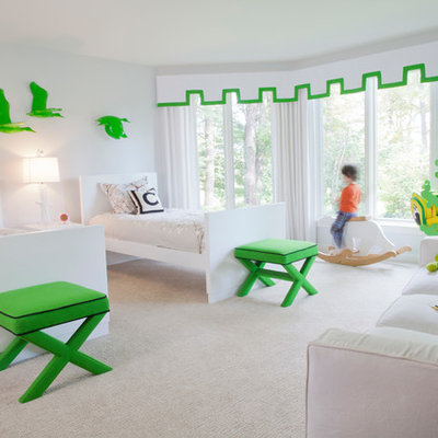 Inspiration for a contemporary carpeted and beige floor kids' bedroom remodel in Miami with white walls