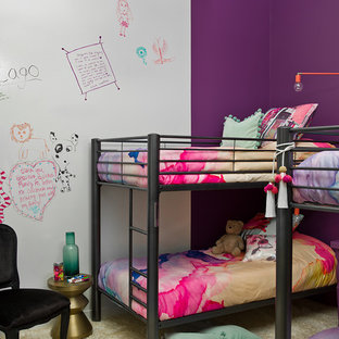 Trendy Girl Carpeted And Beige Floor Kidsu0027 Bedroom Photo In Chicago With  Purple Walls