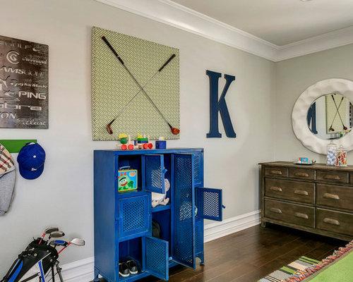 Mid Sized Transitional Boy Medium Tone Wood Floor Kidsu0027 Bedroom Photo In  Los Angeles