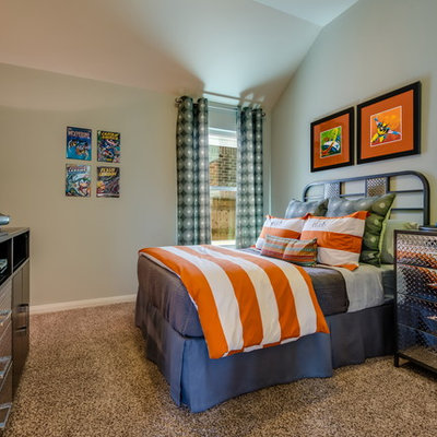 Kids' room - transitional boy carpeted kids' room idea in Austin with gray walls