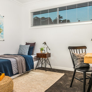 Inspiration for a transitional kids' room for boys in Townsville with white walls, carpet and brown floor.