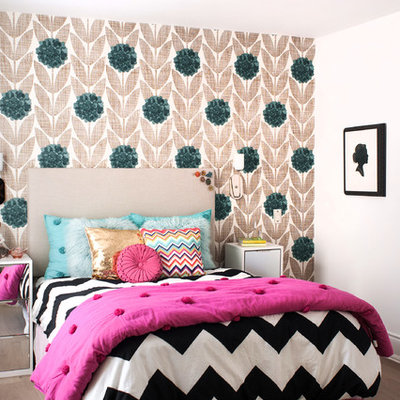 Transitional girl medium tone wood floor kids' room photo in Toronto with multicolored walls